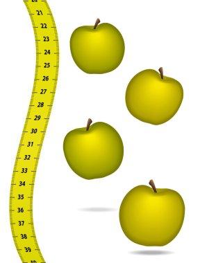 Measure tape with appels. Healthcare concept. Vector illustration. clip art vector