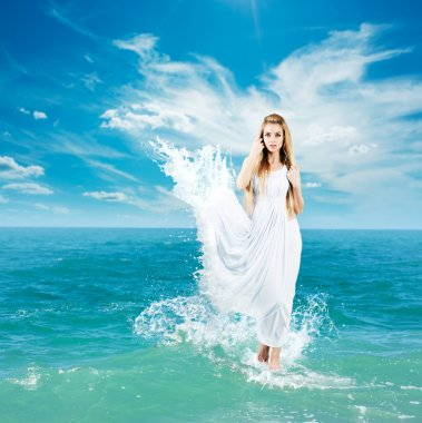 Ancient Greek Goddess in Sea Waves