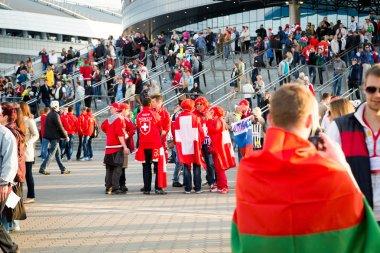 Minsk, Beyaz Rusya - Mayıs 9 - Beyaz Rusya, İsviçre ve Rusya taraftarları önünde 9 Nisan 2014 Belarus minsk arena. buz hokeyi Şampiyonası açılış.