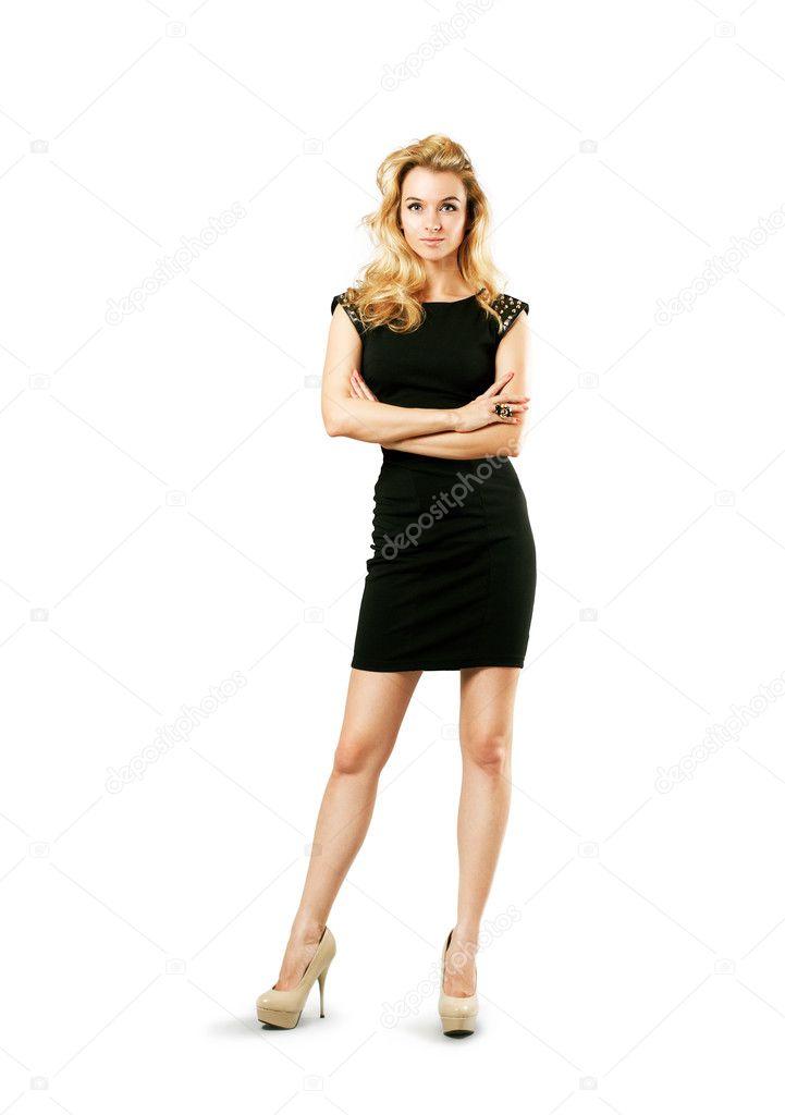 966f61c8567b72 mooie vrouw in zwarte jurk geïsoleerd op wit — Stockfoto © brickrena ...