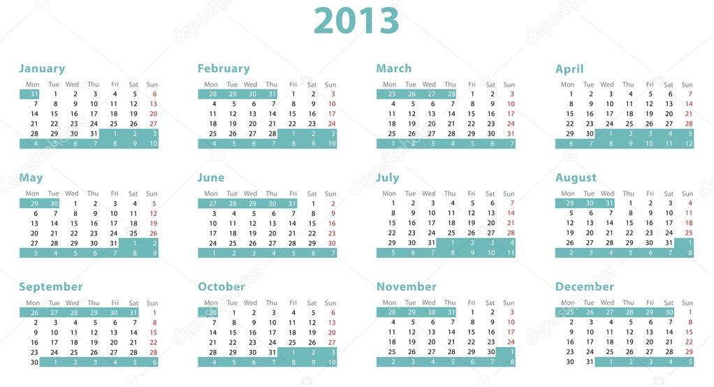 full european 2013 year calendar stock photo carenas1 19201659