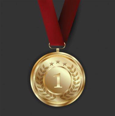 Golden Award Medal on Dark Background