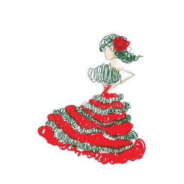 Illustration of gypsy woman sketch