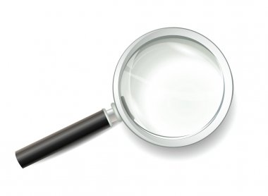 Shiny Magnifying Glass Icon Isolated on White Background