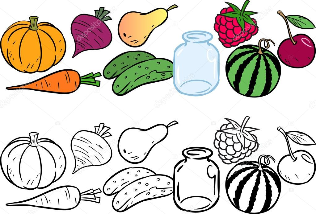 Coloring with vegetables and fruits