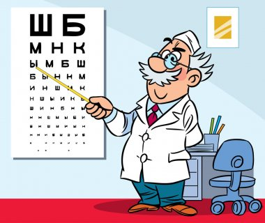 The illustration shows the ophthalmologist in his office. Illustration done in cartoon style. clip art vector