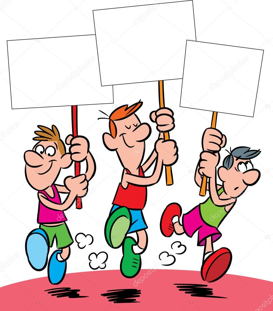 The illustration shows the three cartoon man running with posters in their hands. stock vector