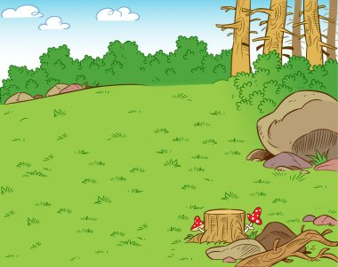 The illustration shows a forest clearing in the summer season. Illustration can be used as a background, done in cartoon style. clip art vector