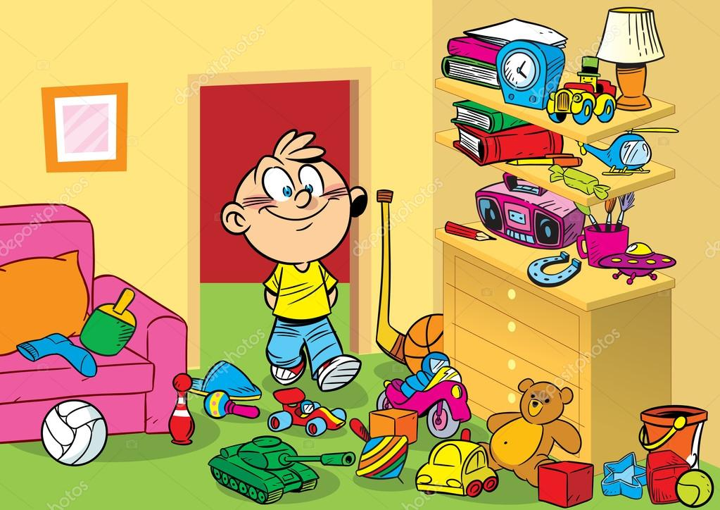 The illustration shows a boy on a background of interior children's room with toys. Illustration done in cartoon style. stock vector