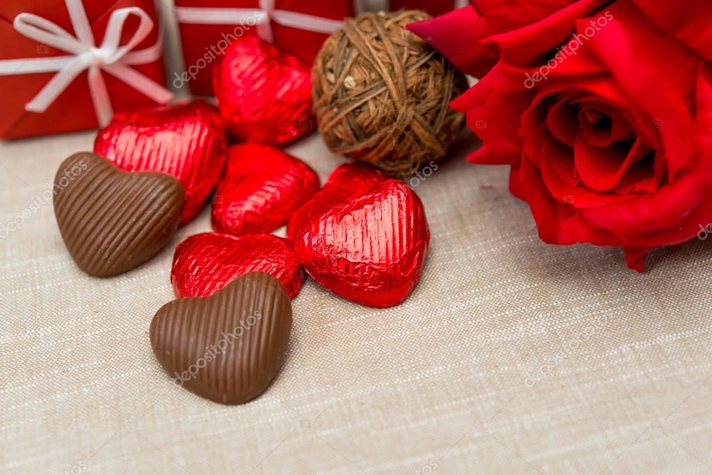 Chocolate Gift Box And Flowers For Valentines Day On White Background Photo By Ilolab