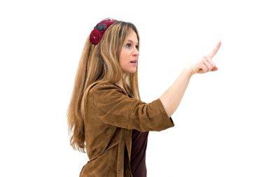woman pointing or pushing something