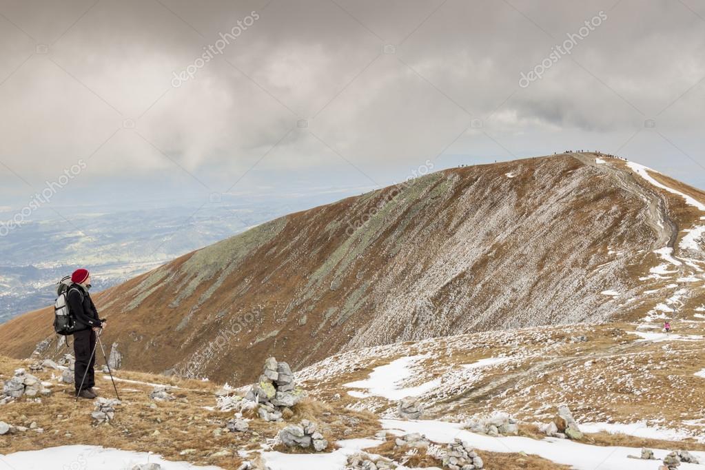 Active women on mountain path - Tatras Mountains.