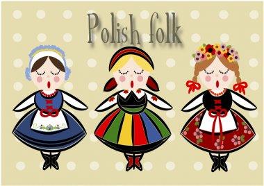Traditional Polish Costume - Vector.