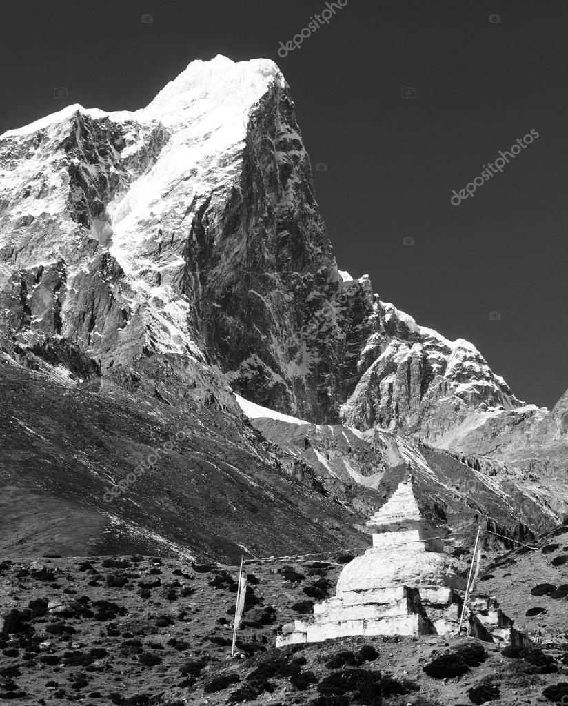 black and white view of Tabuche Peak and stupa on the way to Everest base camp