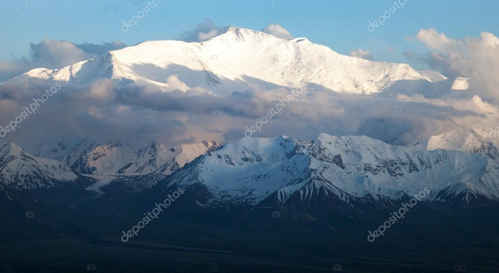 Evening view of Lenin Peak from Alay range - Kyrgyz Pamir Mountains - Kyrgyzstan and Tajikistan border- Central Asia