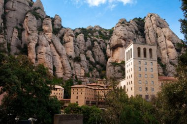 Barcelona, Spain, Monastery of Montserrat, the patriotic symbol and a center of pilgrimage of Catalonia.