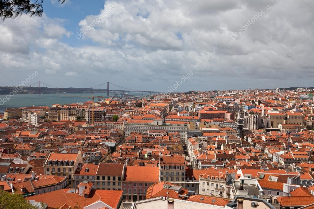 Portugal, Lisbon, Observation Platform, Cityscape, Portuguese Style, Red  Roofs U2014 Stock