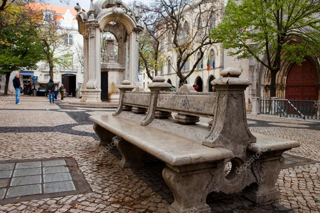 Banco de mármol en el parque España, muebles de jardín, estilo ...