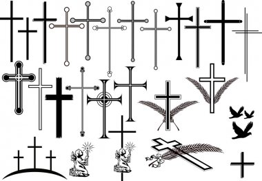Collection of crosses in different designs and other orbituary symbols. Losless scalable isolated vector illustrations. stock vector