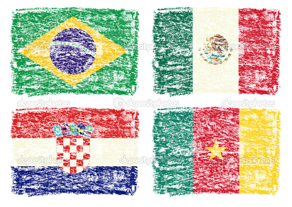 dibujar lápices de colores de las banderas del país, Brasil, México ...