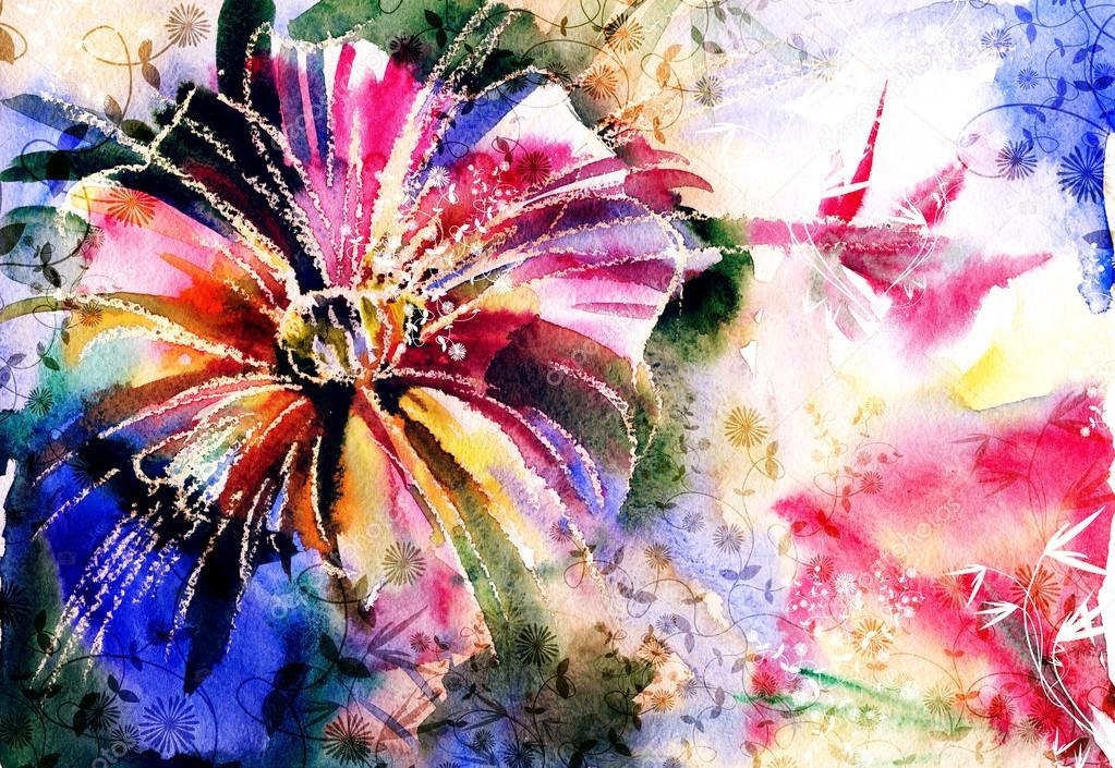 Rose. Watercolor painting.