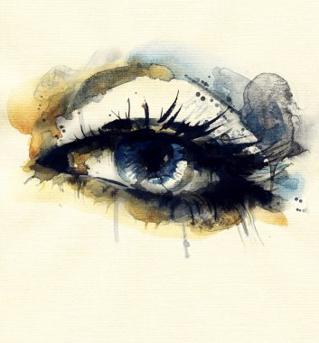 Woman eye .watercolor illustration