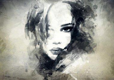 """Картина, постер, плакат, фотообои """"красивое женское лицо. акварель """", артикул 41476829"""