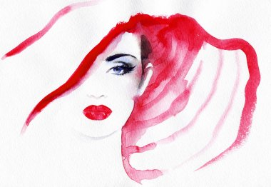 Woman portrait  .abstract  watercolor .