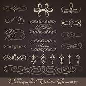 Calligraphic design elements - dark background