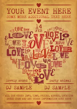 Valentines Party Flyer clip art vector