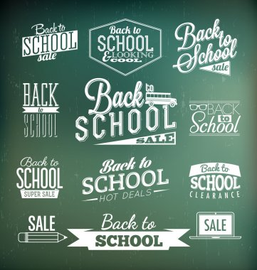 Back to School Calligraphic Designs ,Retro Style Elements ,Vintage Ornaments