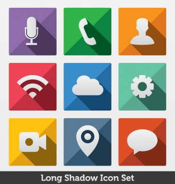 Long Shadow Icon Set, Trendy Design ,