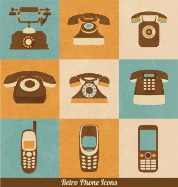 Retro Phone Icons clip art vector