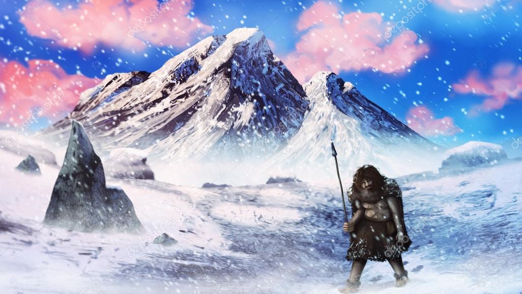 Neanderthal caveman hunter ⬇ Stock Photo, Image by © aaronrutten #21918325