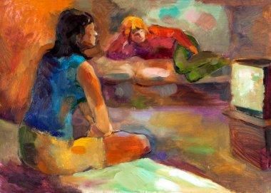 """Картина, постер, плакат, фотообои """"женщины смотрят телевизор поп"""", артикул 12907267"""