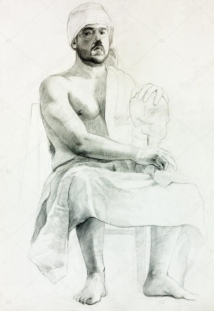 Oturan Adam Portresi Stok Foto Borojoint 13573706