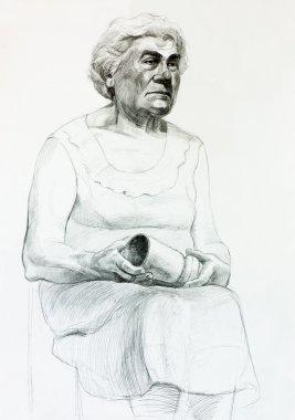 """Картина, постер, плакат, фотообои """"портрет пожилой женщины портрет фото заказ"""", артикул 15845043"""