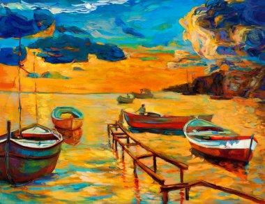 "Картина, постер, плакат, фотообои ""Лодки в море"", артикул 18370681"