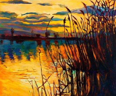 """Картина, постер, плакат, фотообои """"Озеро на закате"""", артикул 18370683"""