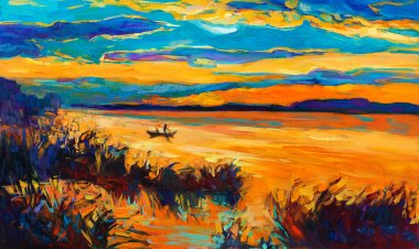 "Картина, постер, плакат, фотообои ""лодка в озере натюрморт картина пейзаж живопись заказ закат"", артикул 18370707"