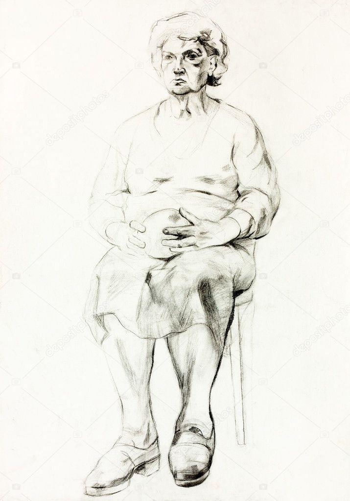 Bir Kadının çizimi Stok Foto Borojoint 18638173