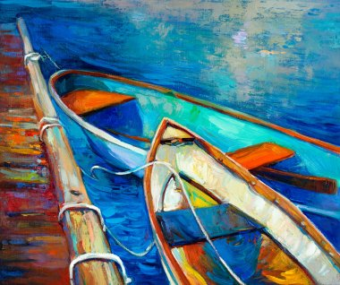 Original oil painting of boat and jetty(pier) on canvas.Sunset over ocean.Modern Impressionism stock vector