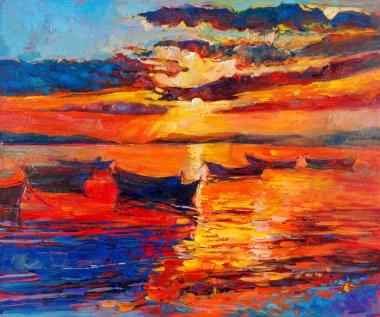 """Картина, постер, плакат, фотообои """"закат по океану"""", артикул 23130362"""