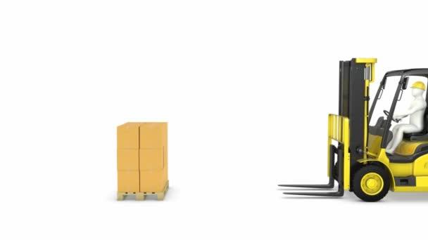 žlutá vysokozdvižných truck zvedne balíčky