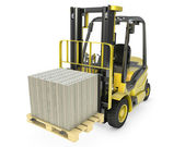 Photo Yellow fork lift truck moves stacked dollars