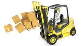 Photo Overloaded yellow fork lift truck falling forward