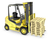 Photo Yellow fork lift truck, with stack of pallets