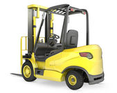 Photo Yellow fork lift truck, rear view