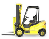Photo Yellow fork lift truck side view