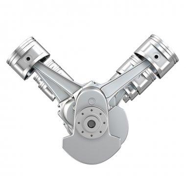 V8 engine pistons on a crankshaft, front view